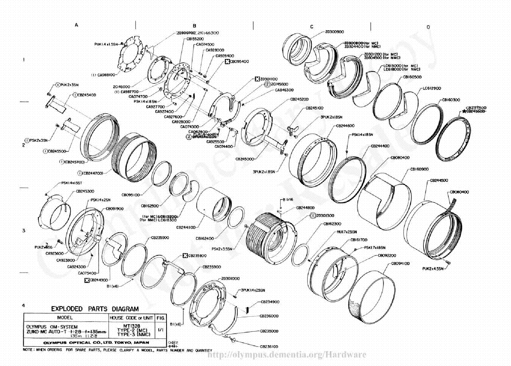 OLYMPUS 135MM F2.8 EXPLODED PARTS DIAGRAM Service Manual