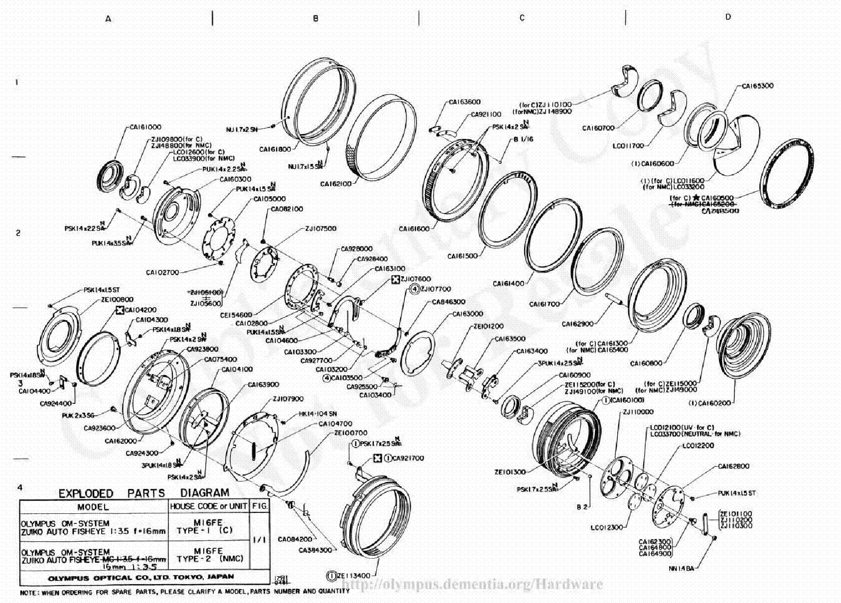 OLYMPUS 20MM 38MM F3.5 MACRO EXPLODED PARTS DIAGRAM