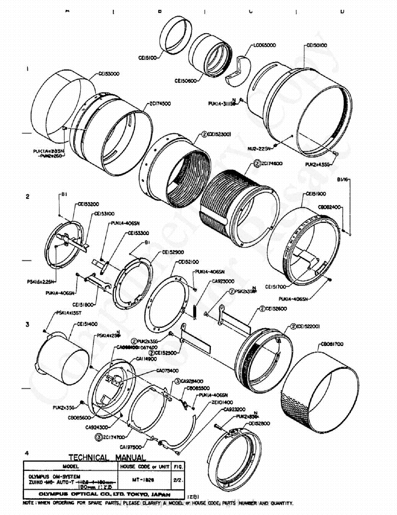Olympus 180mm F2 8 Exploded Parts Diagram Service Manual