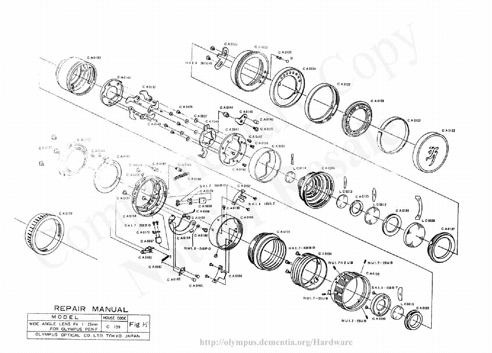 OLYMPUS 50MM F1.2 EXPLODED PARTS DIAGRAM Service Manual