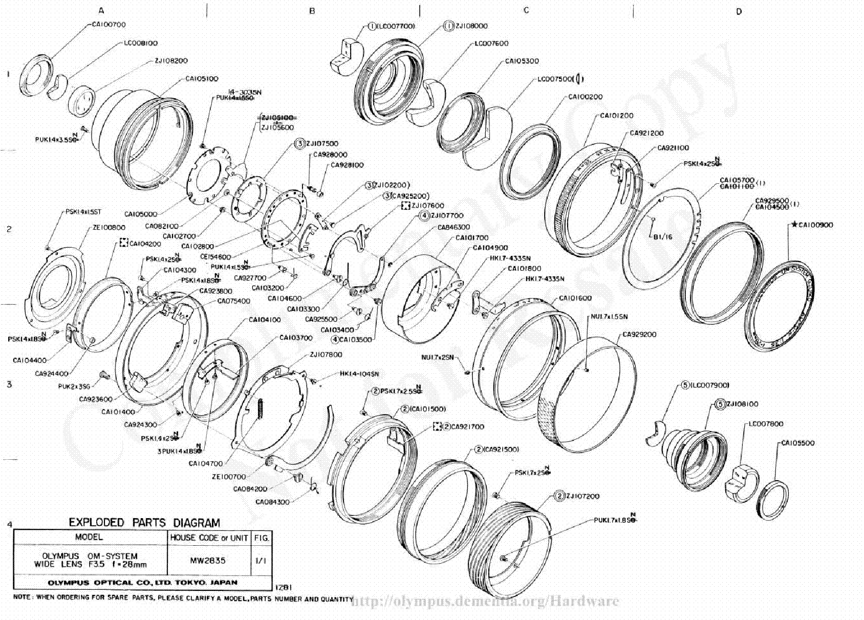 OLYMPUS 42MM F1.2 EXPLODED PARTS DIAGRAM Service Manual