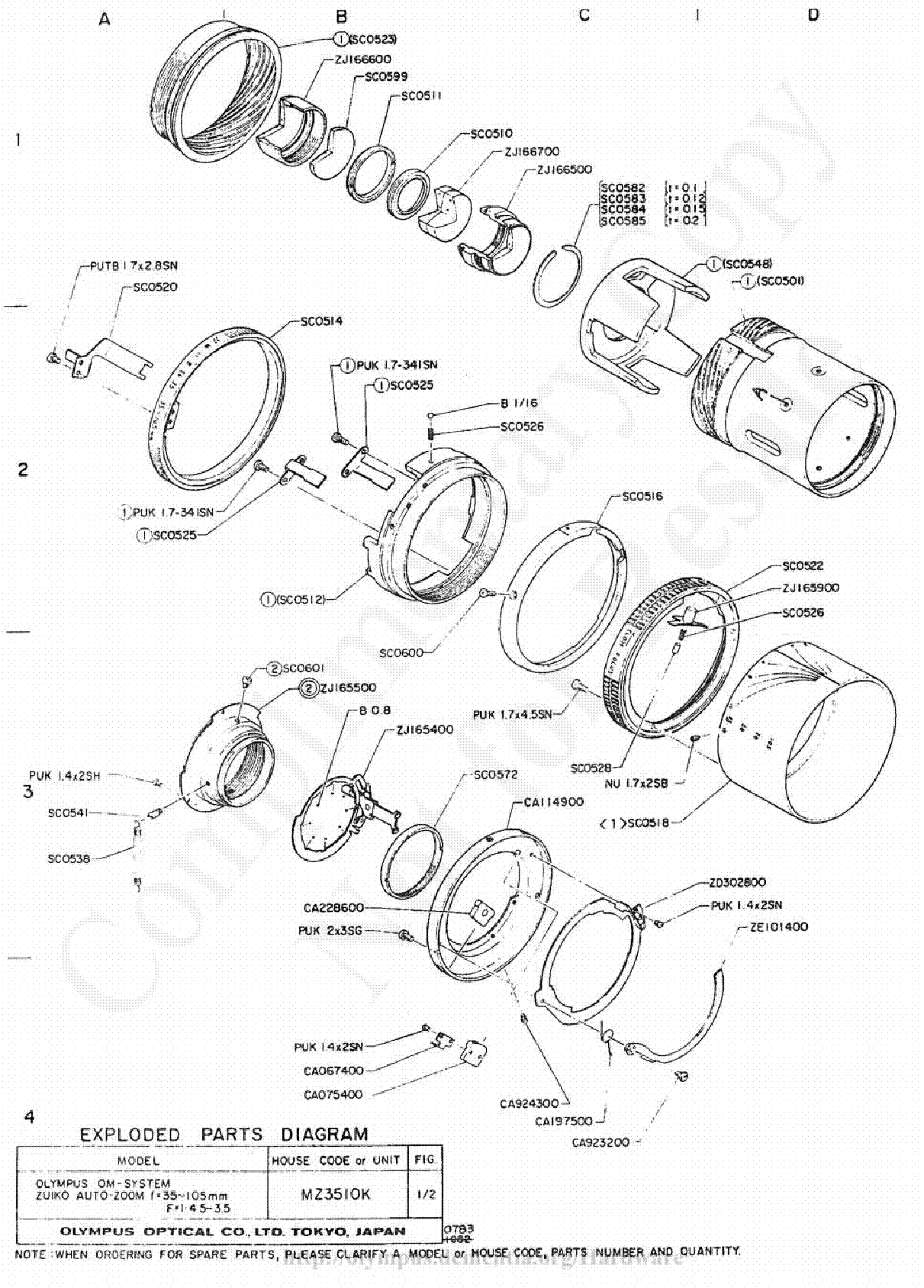 Olympus 18mm F3 5 Exploded Parts Diagram Service Manual