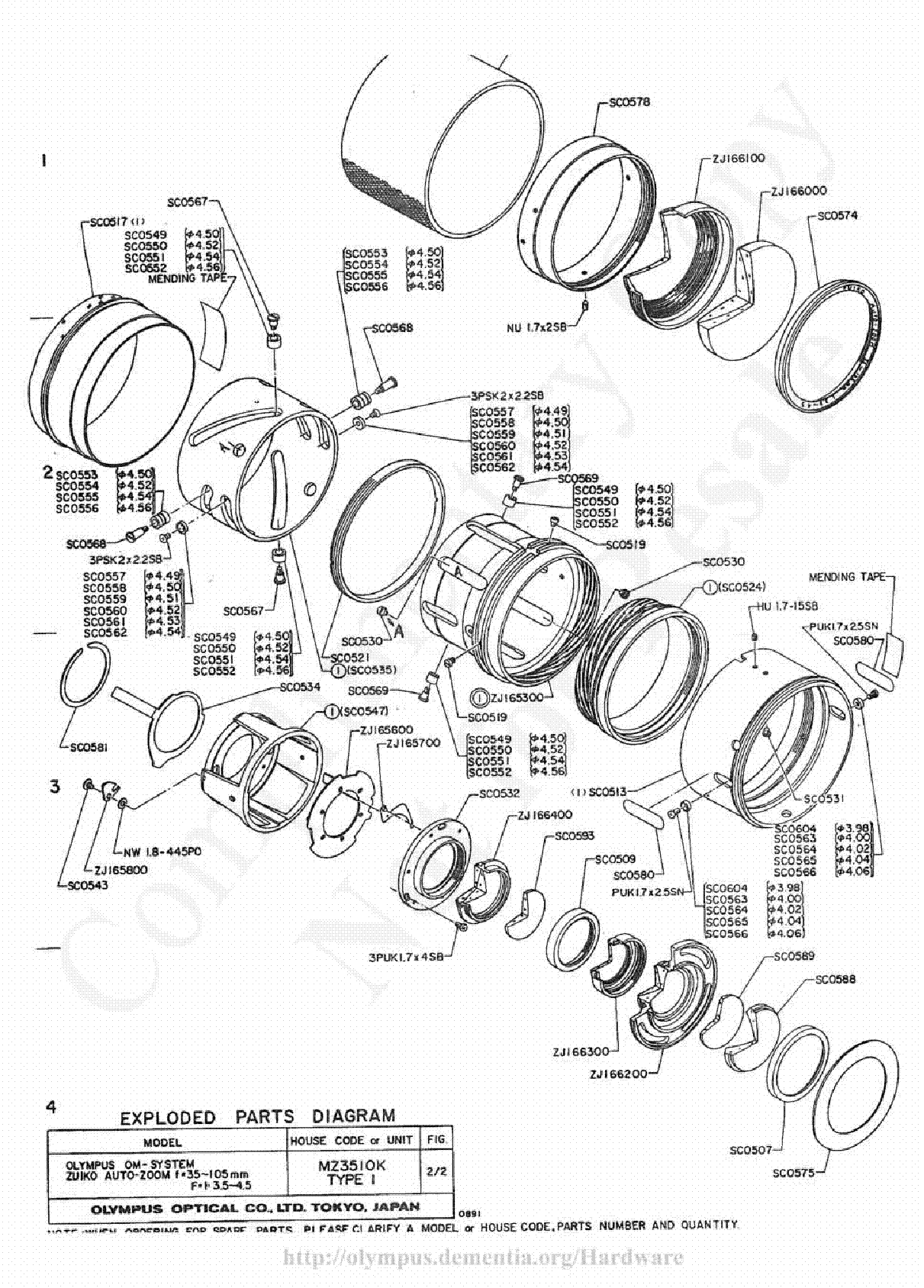 OLYMPUS 35-105MM F3.5-4.5 EXPLODED PARTS DIAGRAM Service