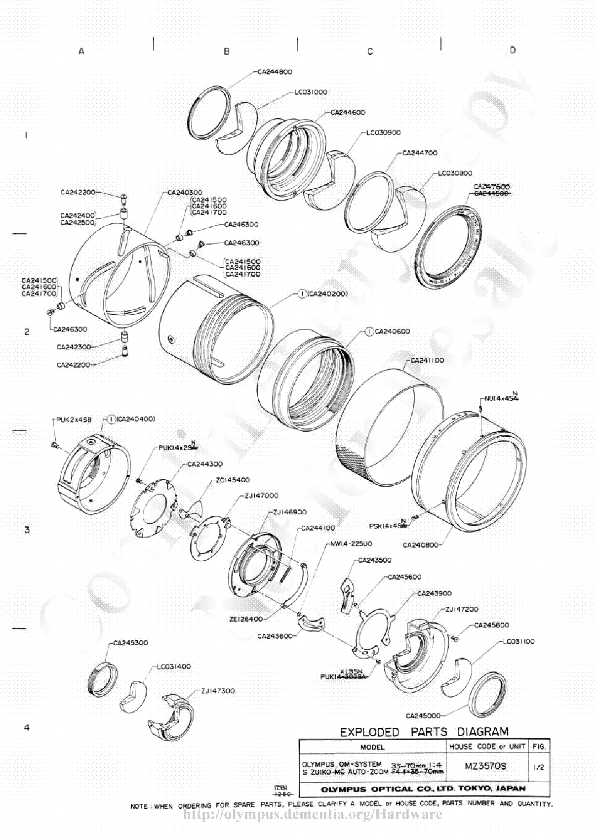 OLYMPUS 38MM F1.8 EXPLODED PARTS DIAGRAM Service Manual