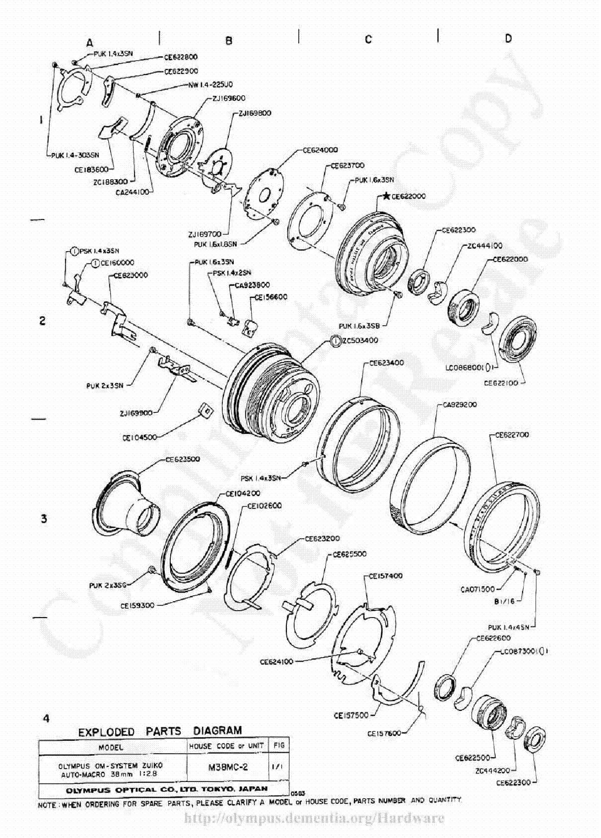 OLYMPUS 55MM F1.2 EXPLODED PARTS DIAGRAM Service Manual