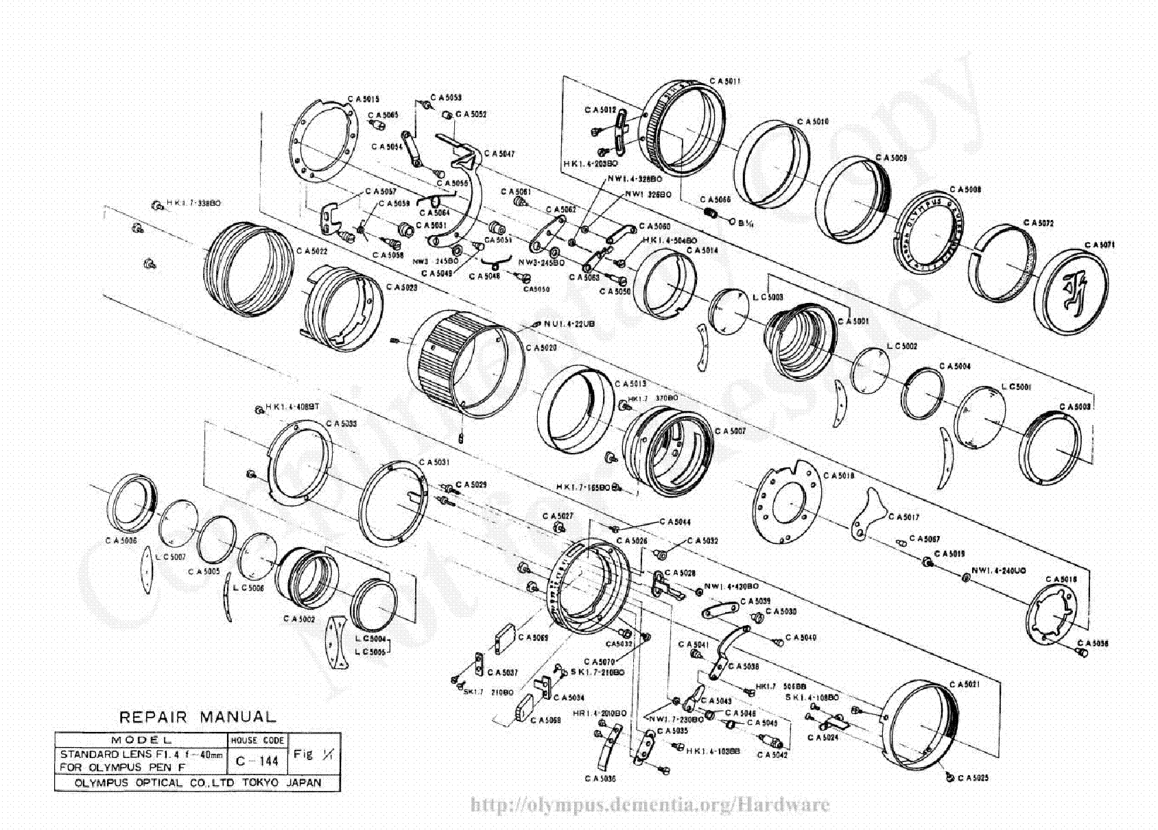 OLYMPUS 35EC-2 EXPLODED PARTS DIAGRAM Service Manual free