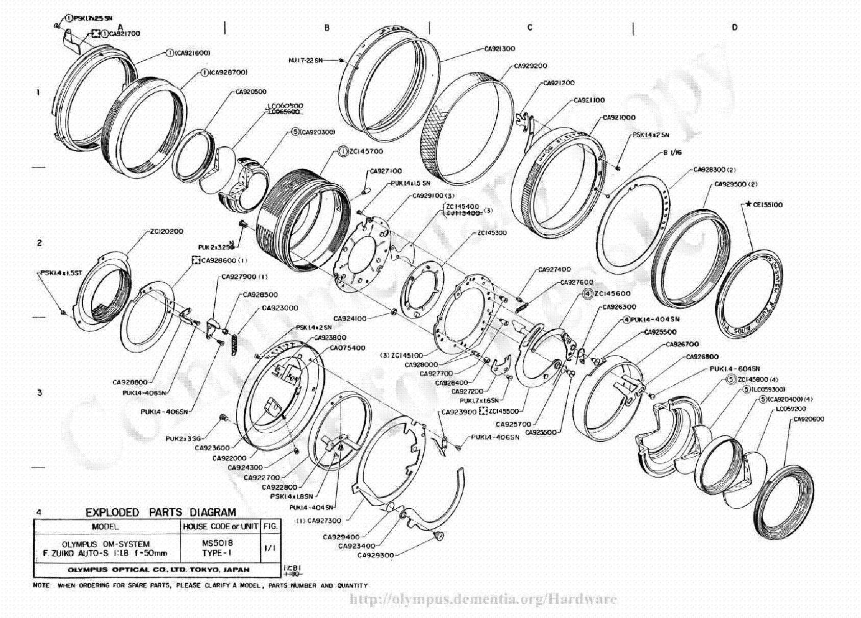 OLYMPUS 50MM F1.8 EXPLODED PARTS DIAGRAM Service Manual