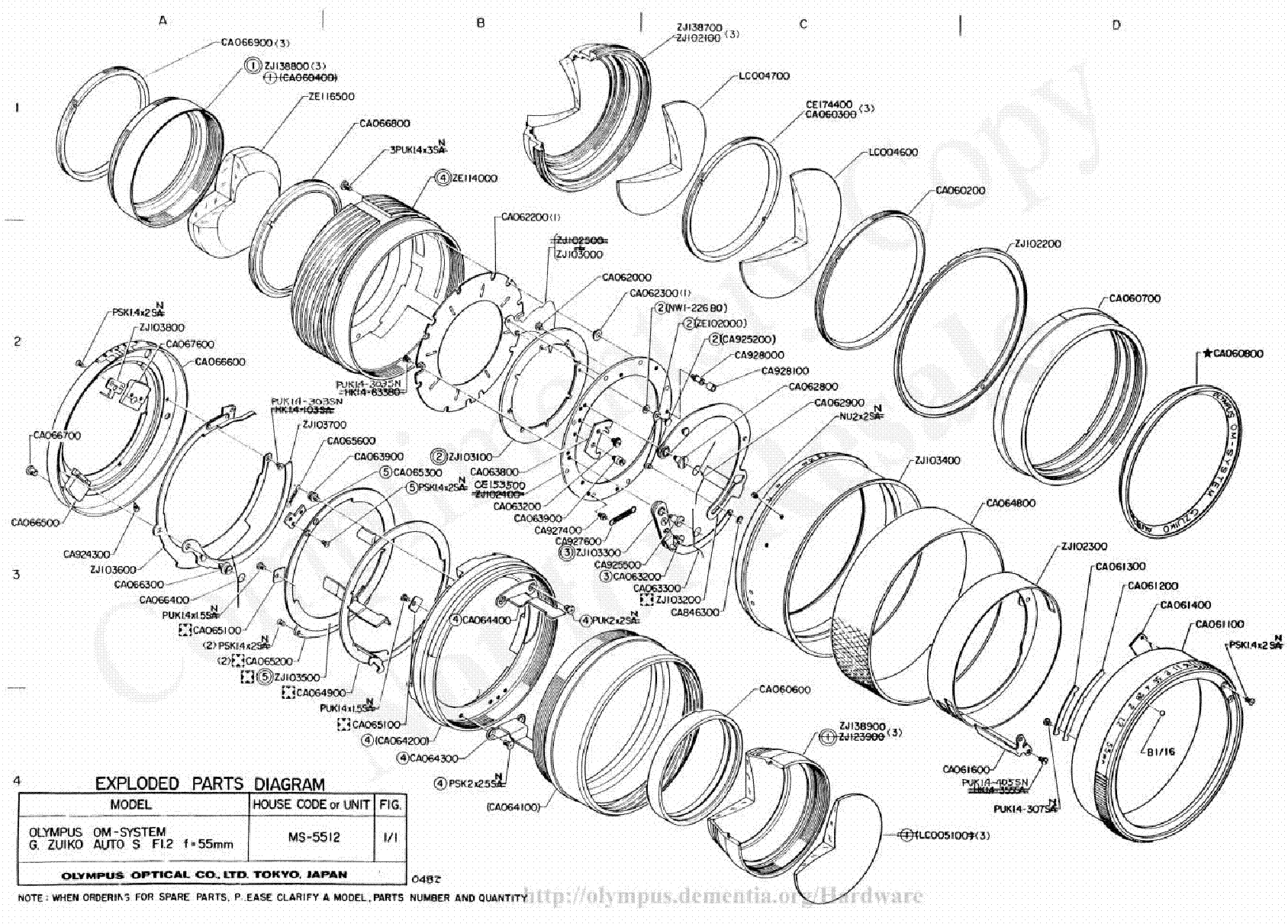 Olympus 55mm F1 2 Exploded Parts Diagram Service Manual