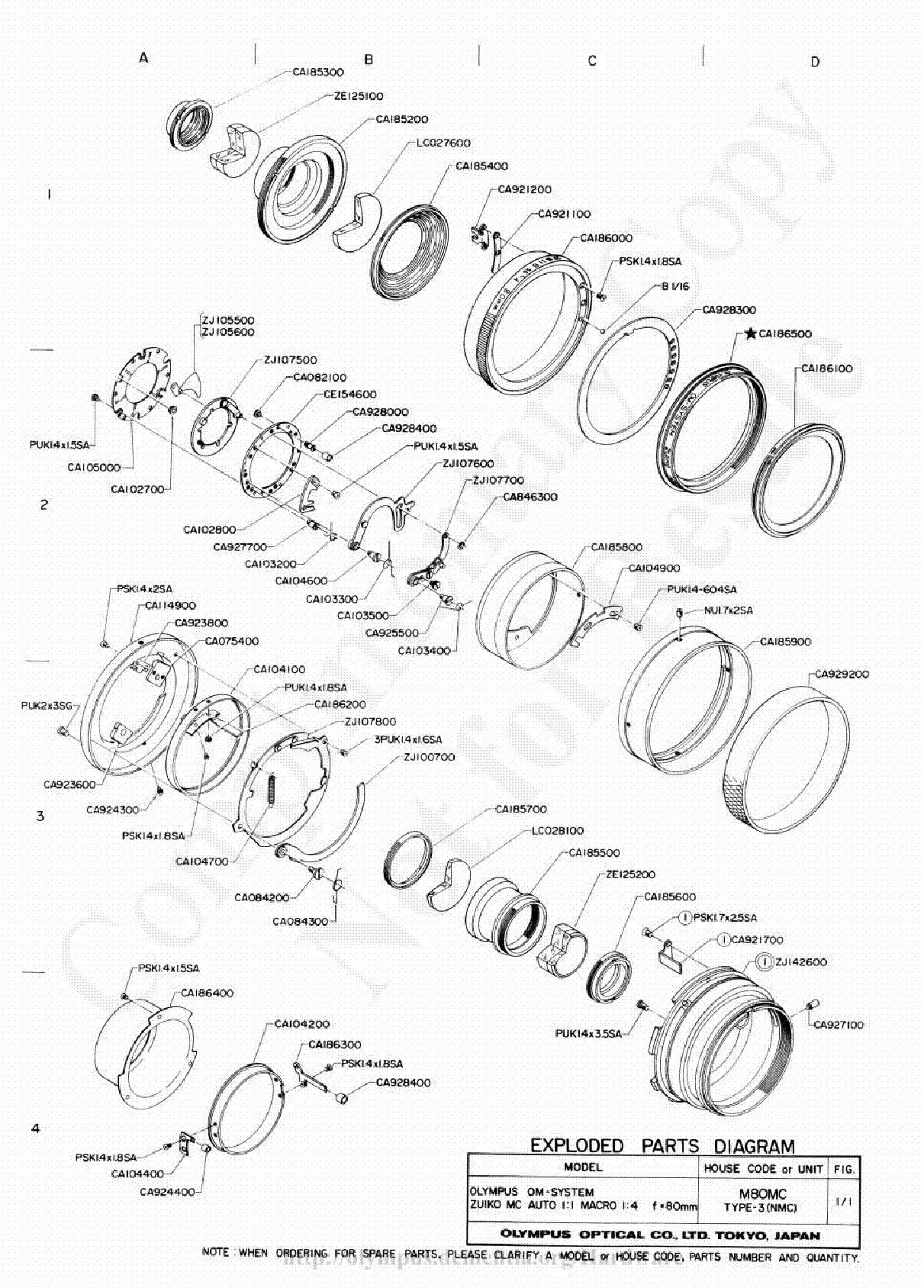 OLYMPUS 80MM F4 MACRO EXPLODED PARTS DIAGRAM Service