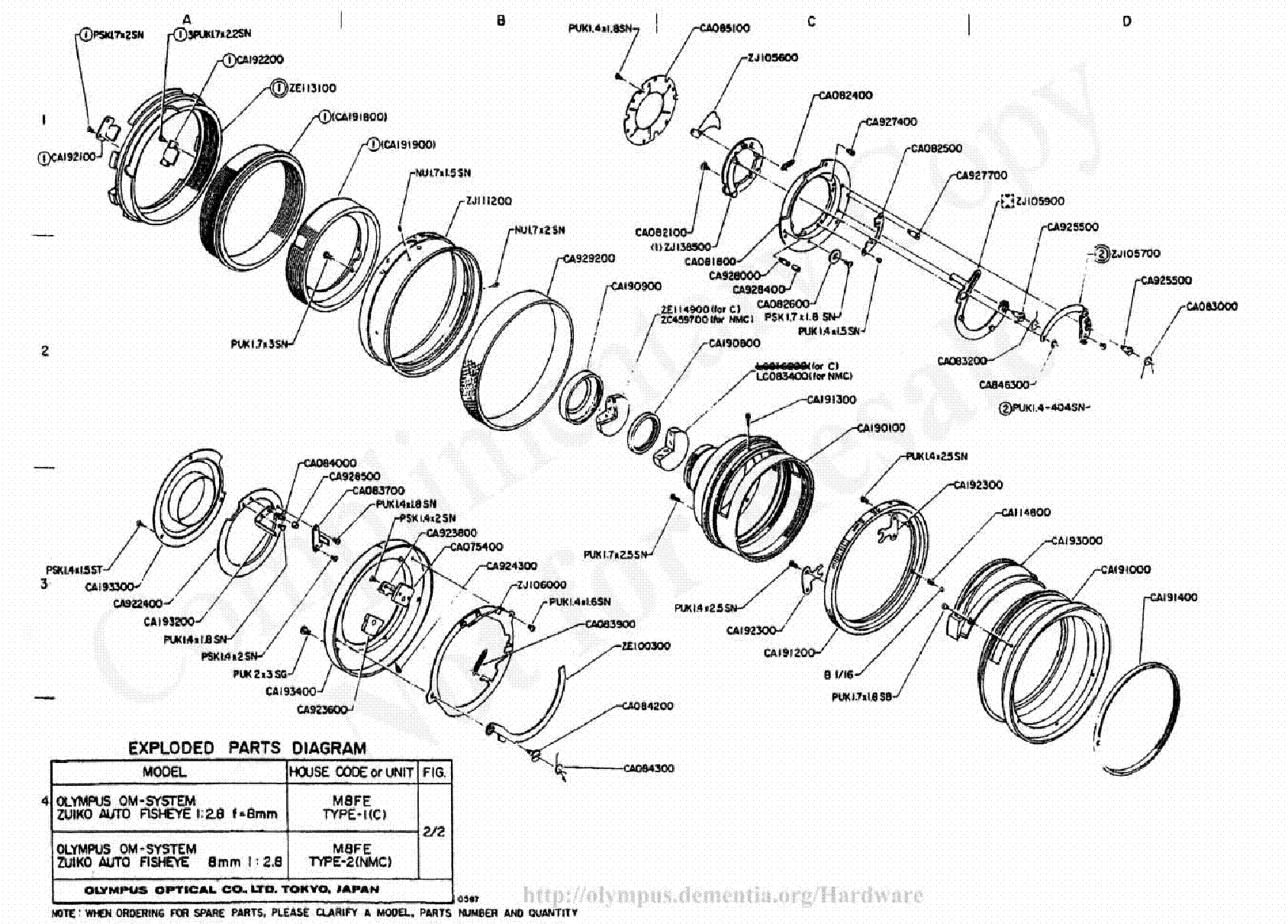 OLYMPUS 8MM F2.8 EXPLODED PARTS DIAGRAM Service Manual