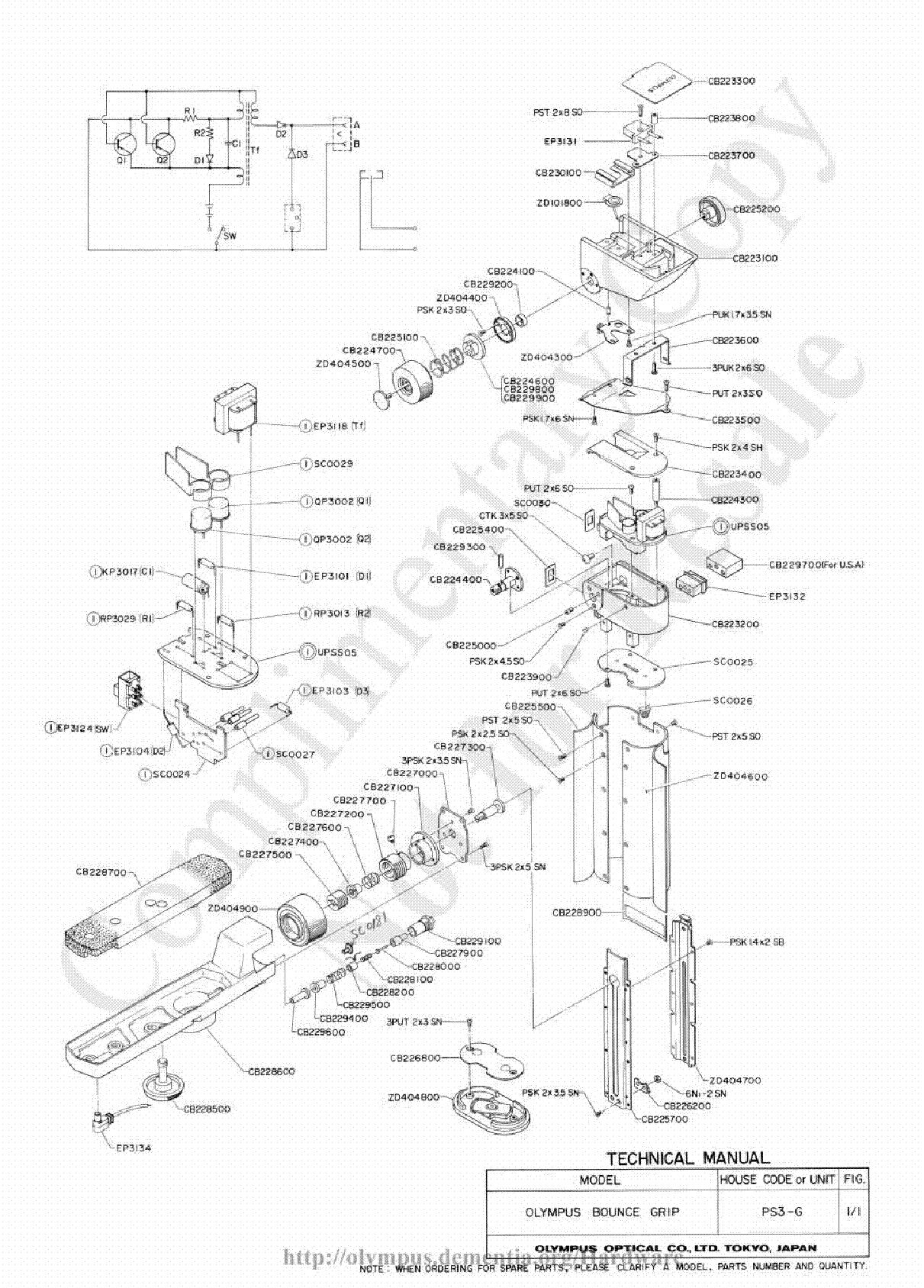 OLYMPUS C-460ZOOM D-580ZOOM X-400 PARTS LIST Service