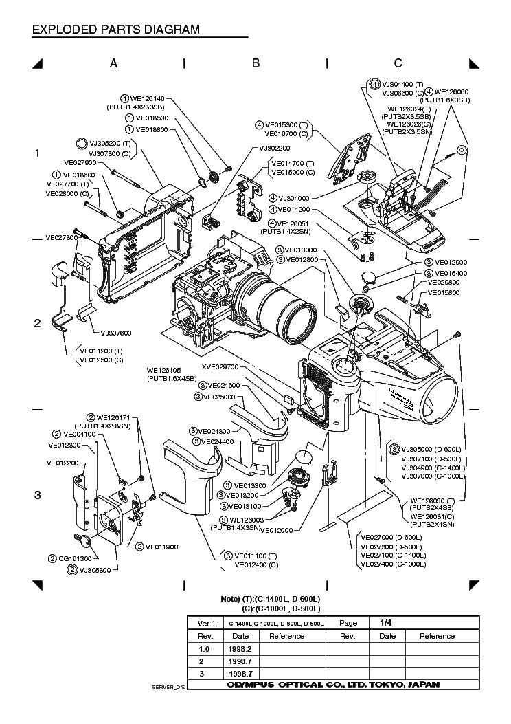 OLYMPUS E-100RS PARTS LIST Service Manual free download