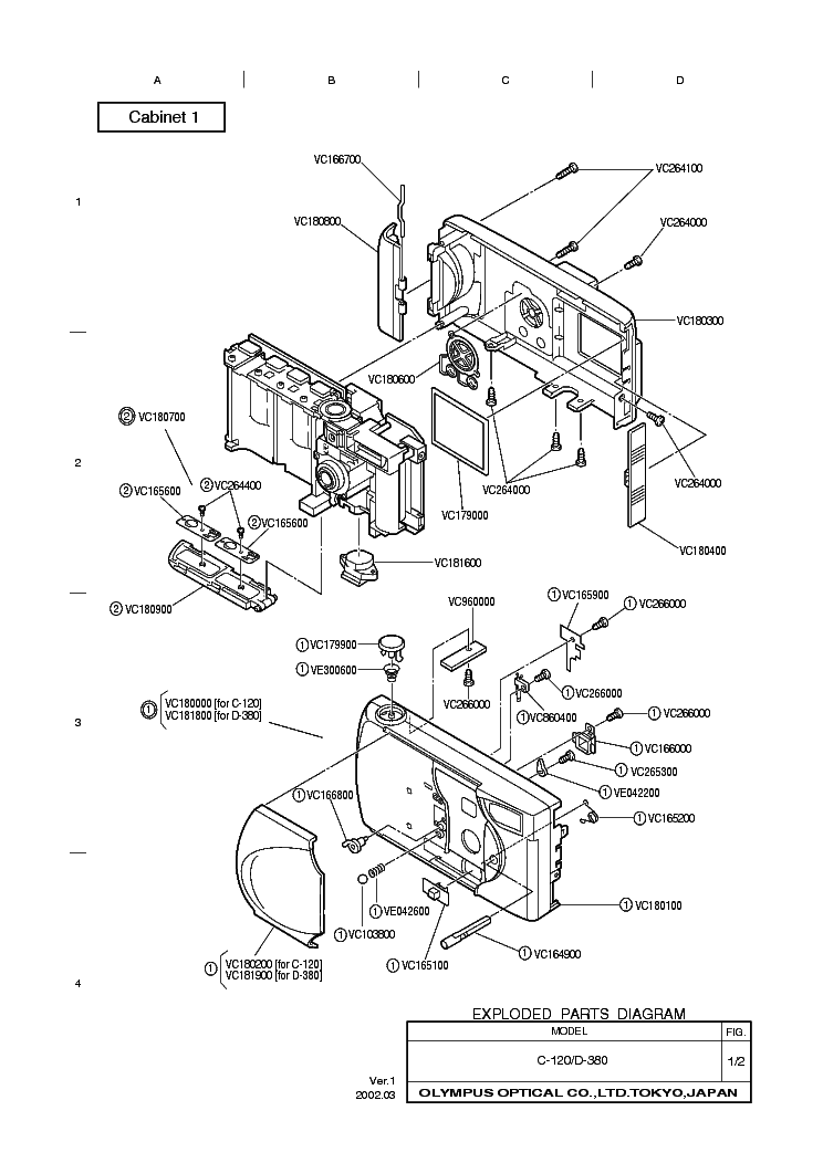 OLYMPUS C-120 D-380 Service Manual download, schematics