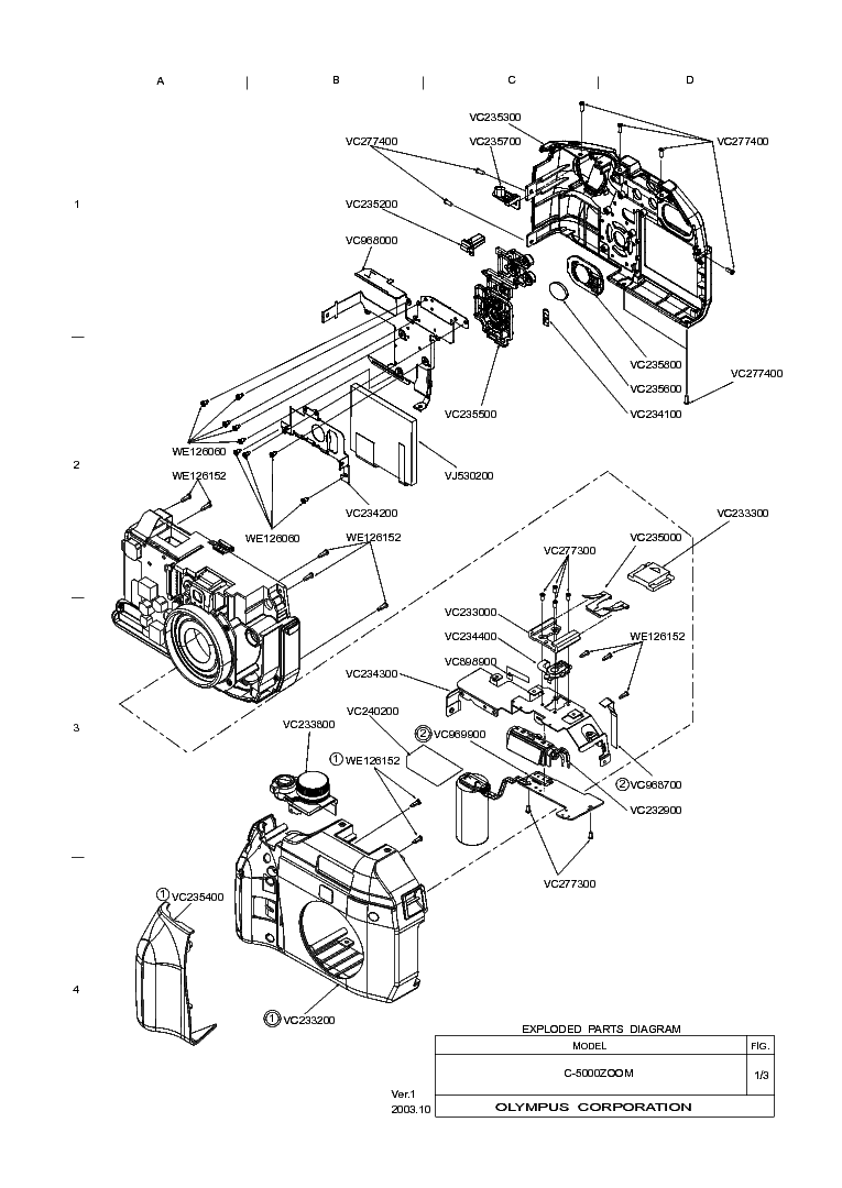 OLYMPUS 35DC EXPLODED PARTS DIAGRAM Service Manual