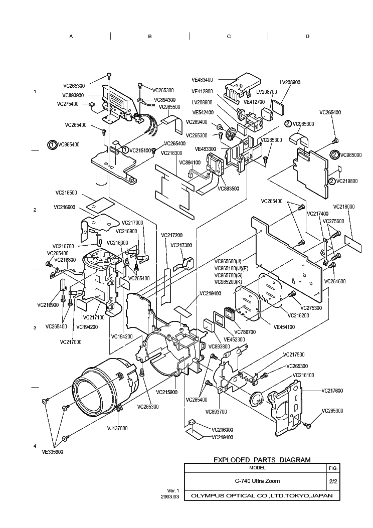OLYMPUS C-740ULTRAZOOM Service Manual download, schematics