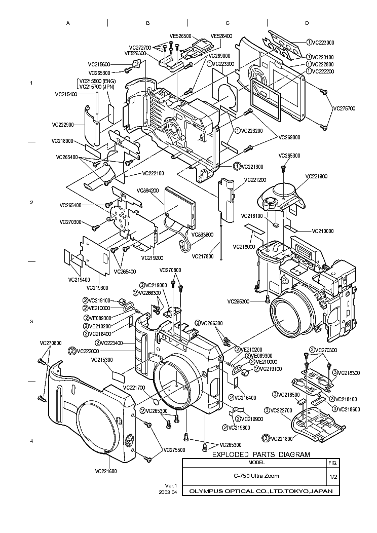 OLYMPUS C-750ULTRAZOOM Service Manual download, schematics