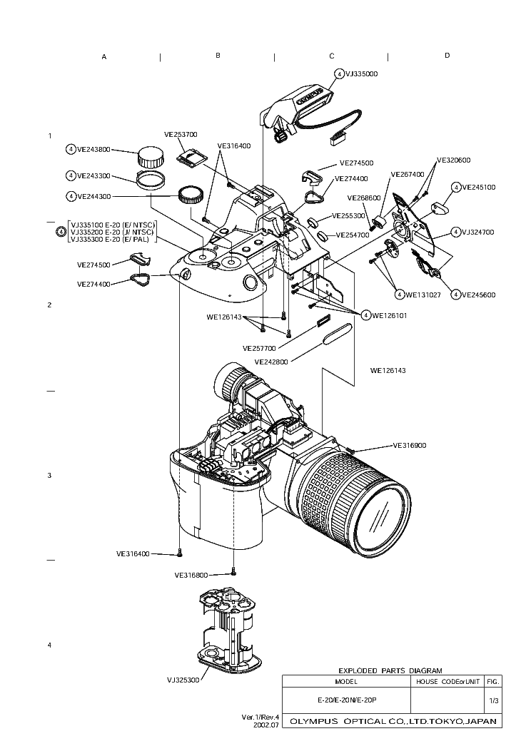 OLYMPUS E-20 PARTS LIST Service Manual download