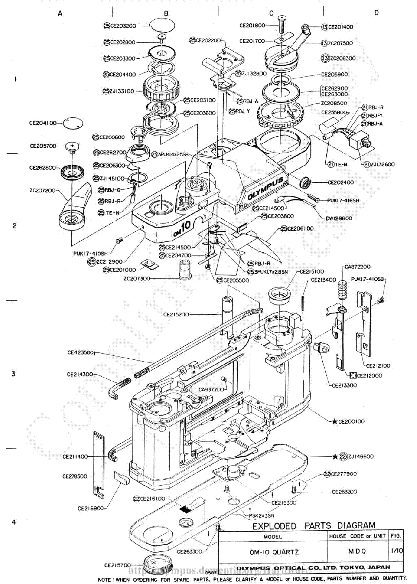 OLYMPUS OM-10 QUARTZ EXPLODED PARTS DIAGRAM Service Manual