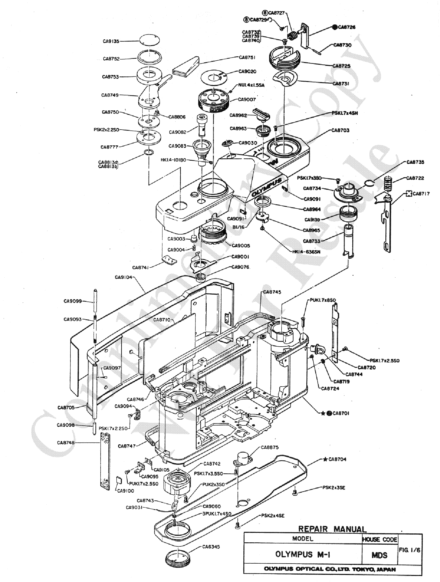 Olympus Om 1 Exploded Parts Diagram Service Manual