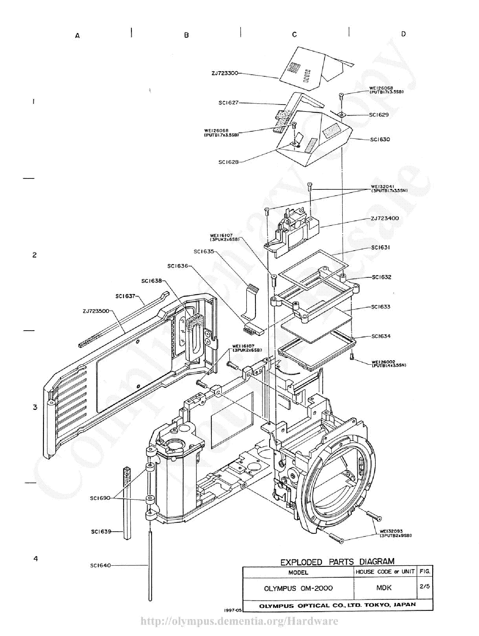 OLYMPUS OM-2000 EXPLODED PARTS DIAGRAM Service Manual