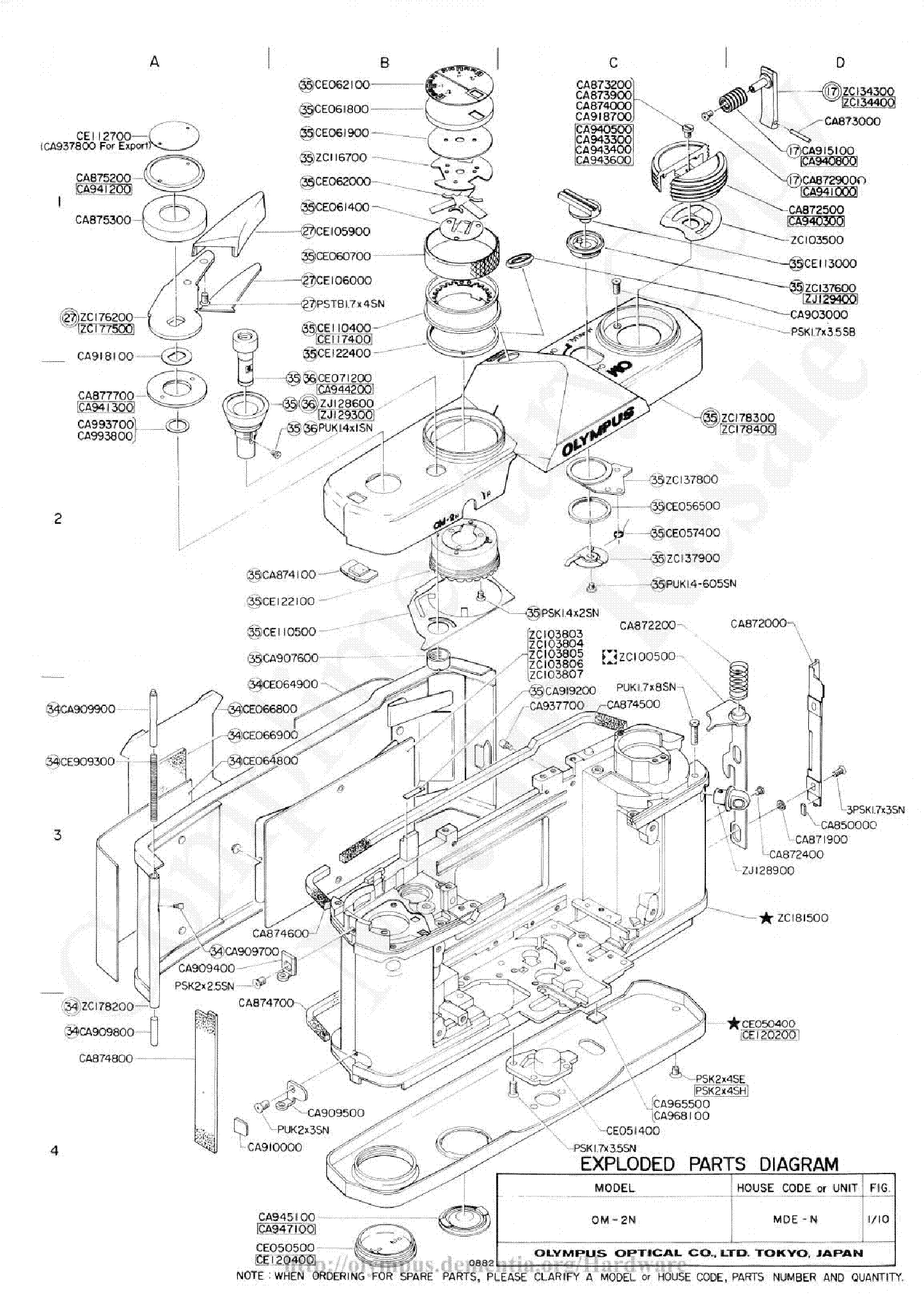 OLYMPUS OM-2N EXPLODED PARTS DIAGRAM Service Manual