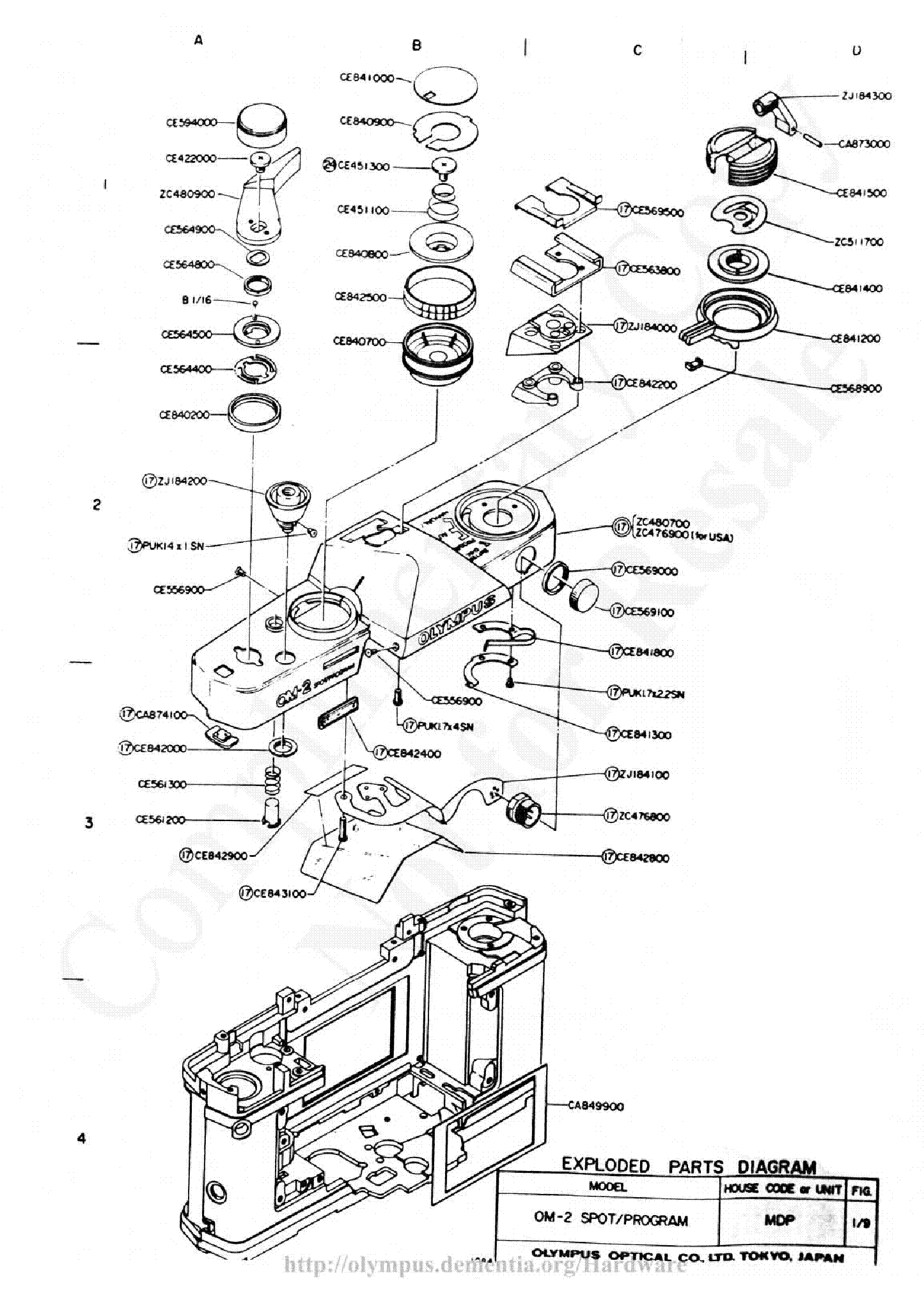 OLYMPUS OM-2S EXPLODED PARTS DIAGRAM Service Manual