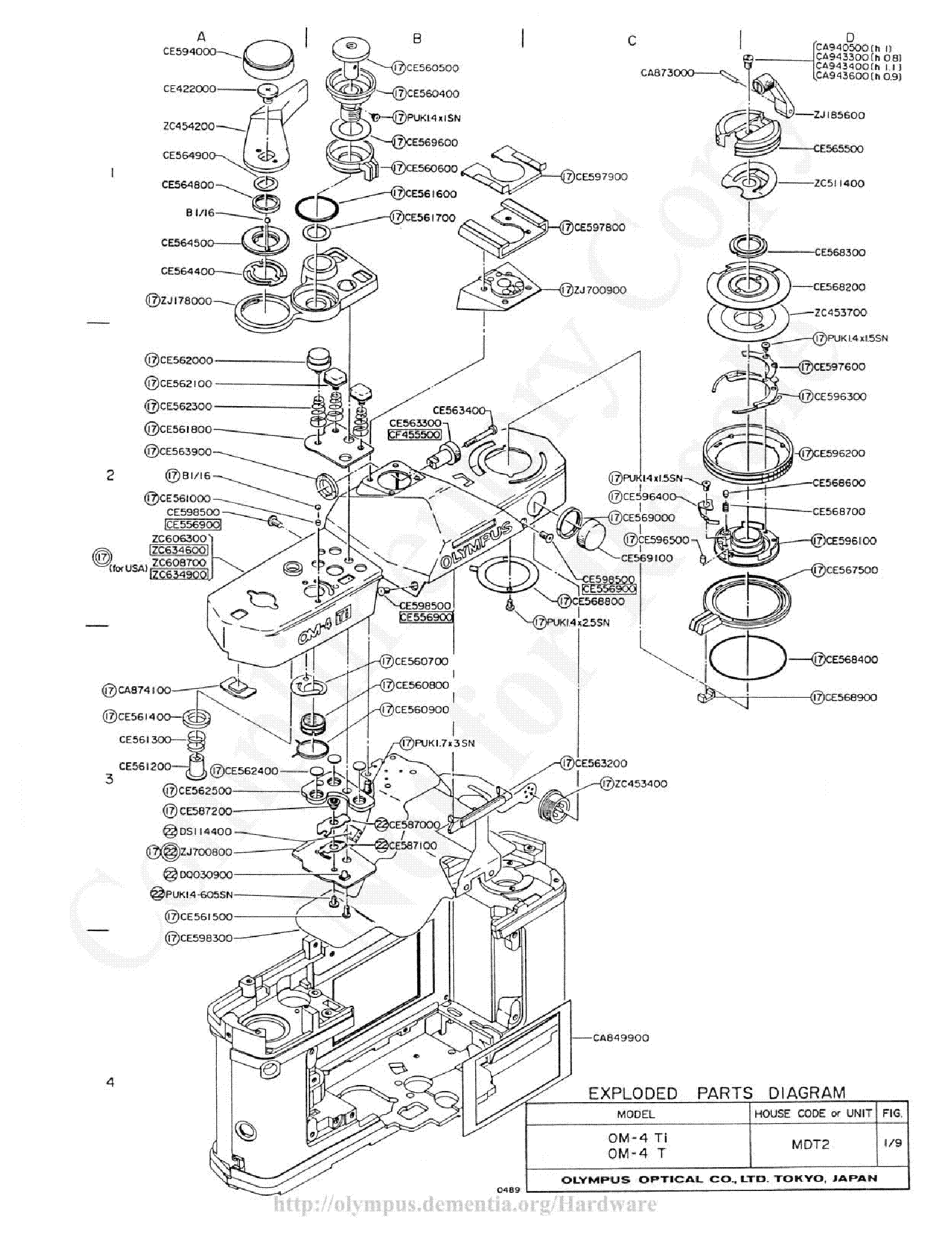 Olympus 100 200mm F5 Exploded Parts Diagram Service Manual