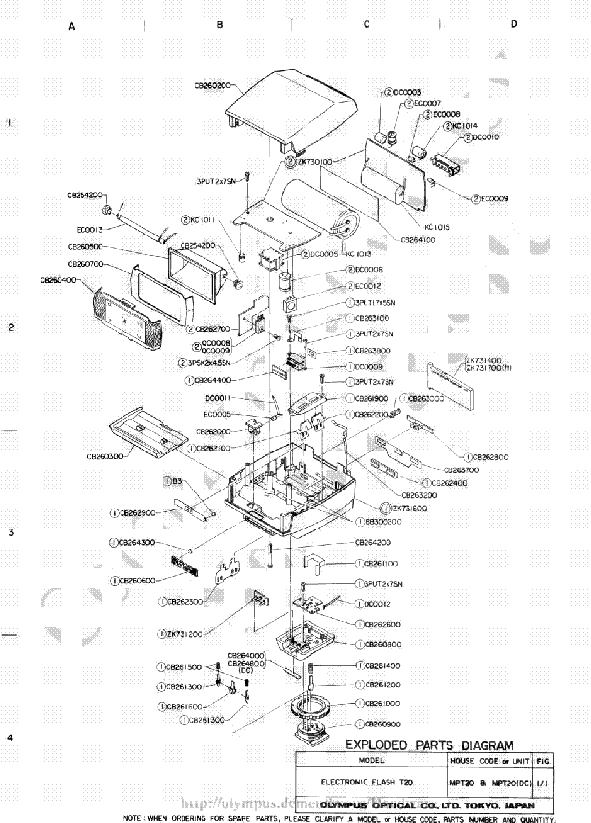 OLYMPUS 200MM F4.0 EXPLODED PARTS DIAGRAM Service Manual