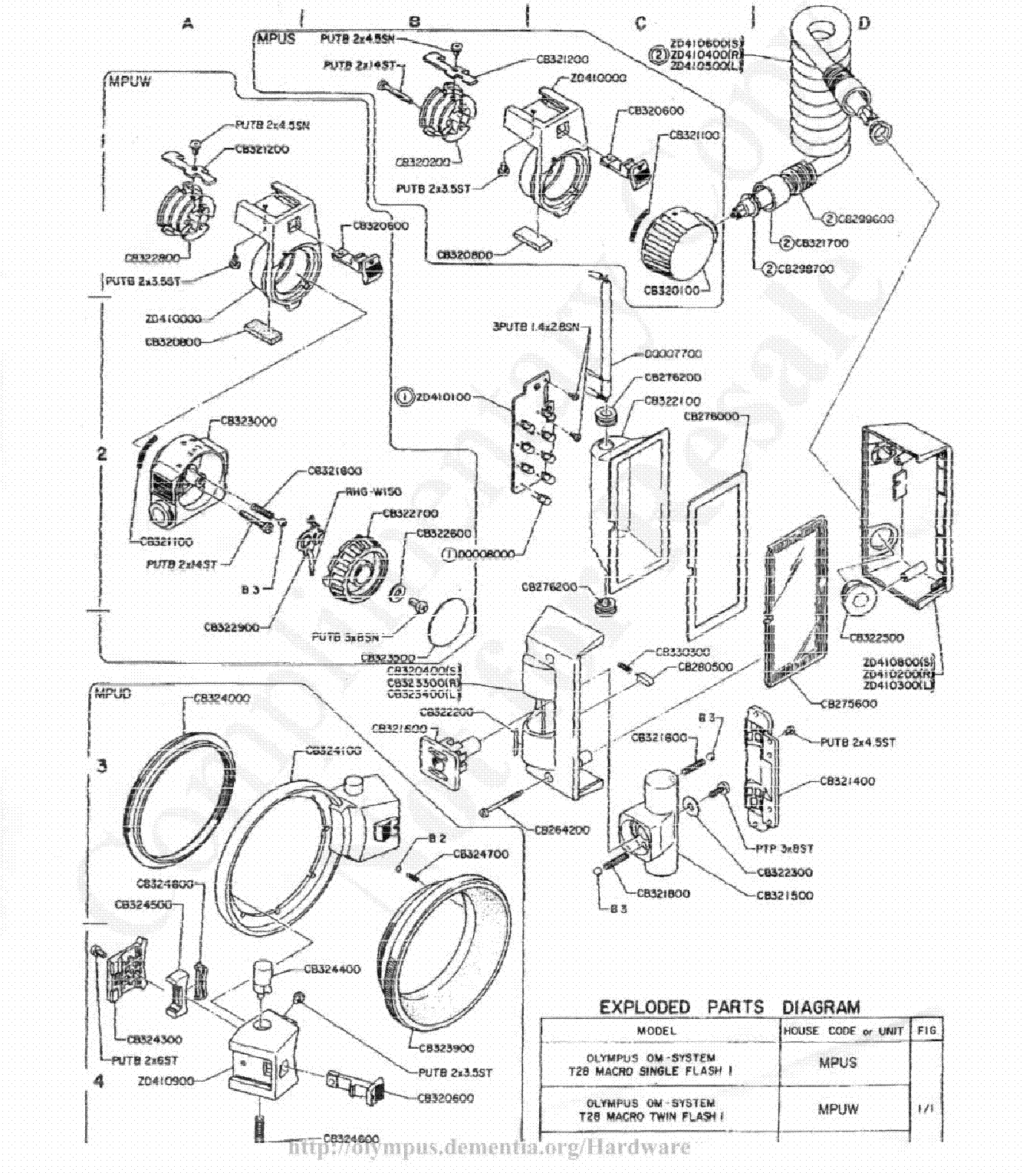 OLYMPUS OM-1 EXPLODED PARTS DIAGRAM Service Manual