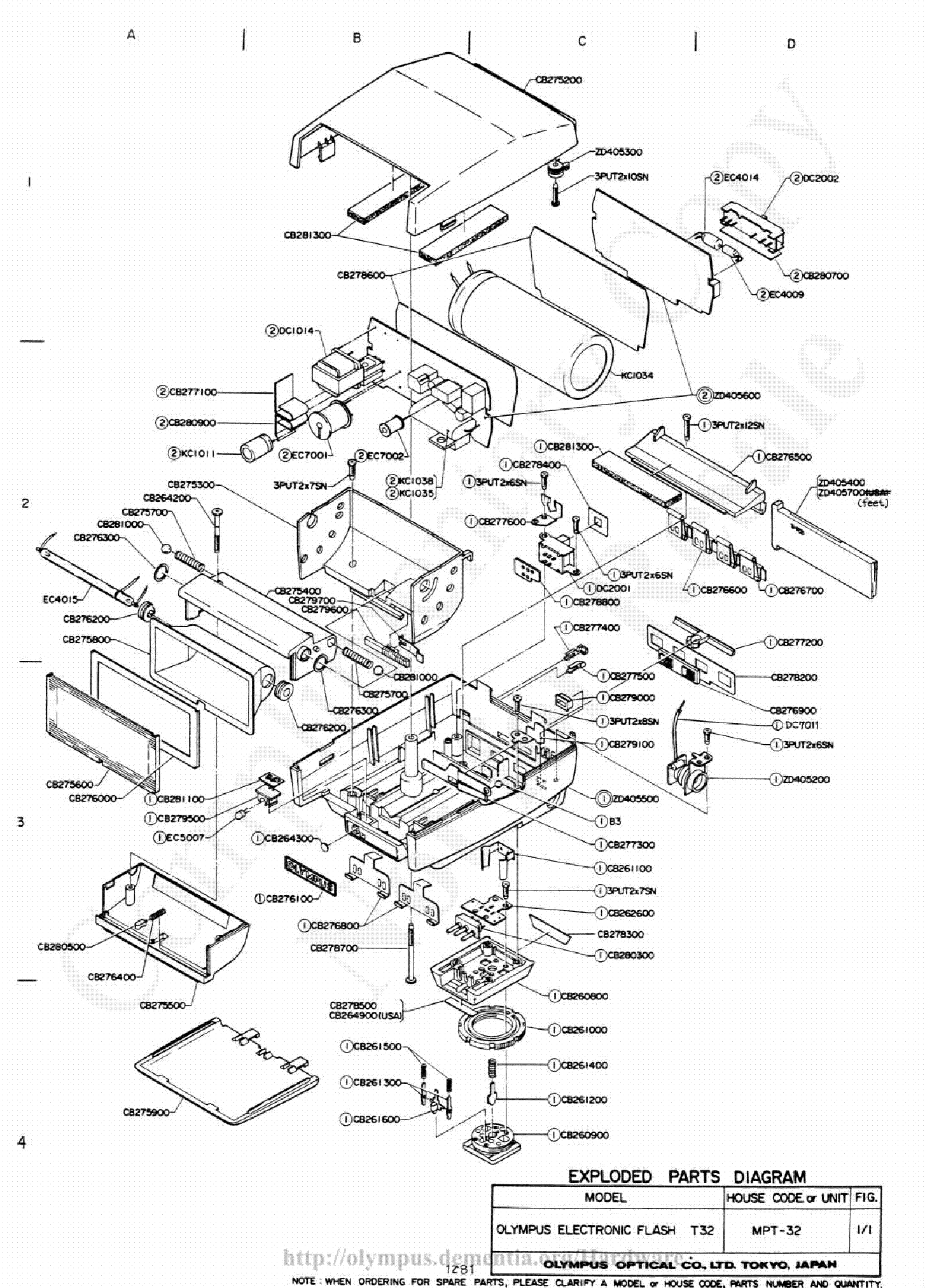 OLYMPUS T-32 EXPLODED PARTS DIAGRAM Service Manual