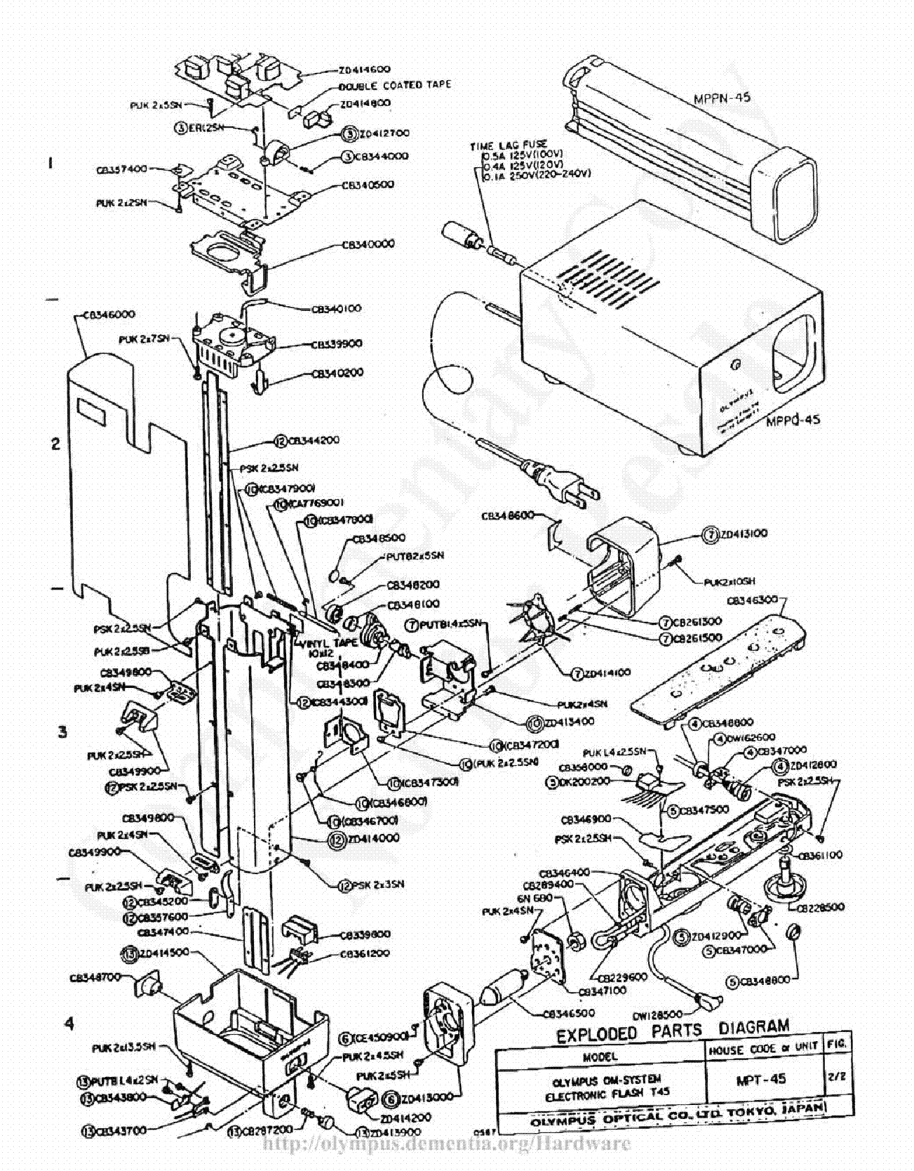 OLYMPUS T-45 EXPLODED PARTS DIAGRAM Service Manual