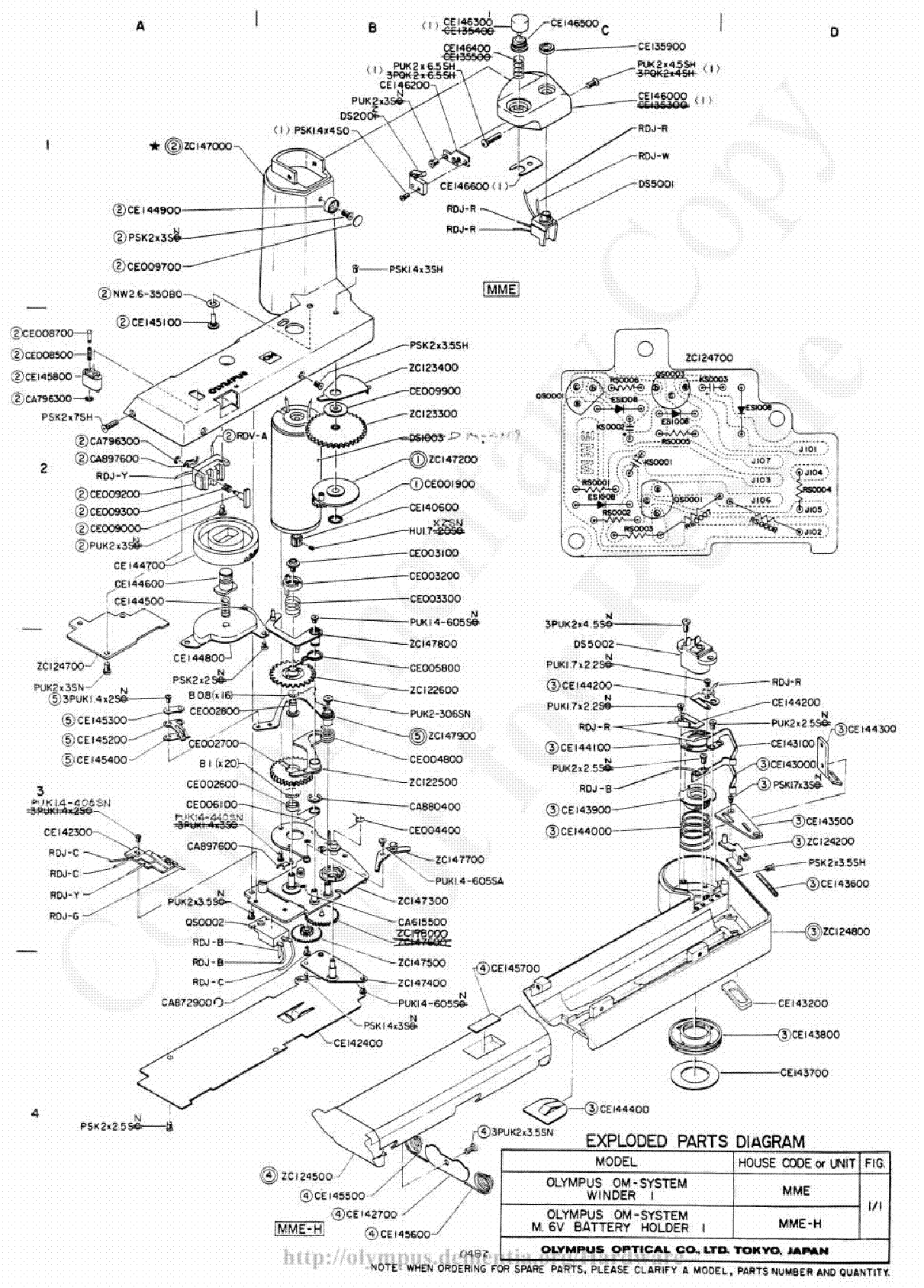 Olympus winder1 exploded parts diagram service manual 1st page olympus winder1 exploded parts diagram service