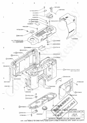 OLYMPUS XA EXPLODED PARTS DIAGRAM Service Manual download, schematics, eeprom, repair info for