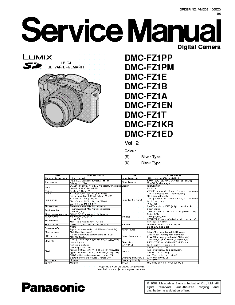 PANASONIC DMC-FZ1 SM Service Manual download, schematics