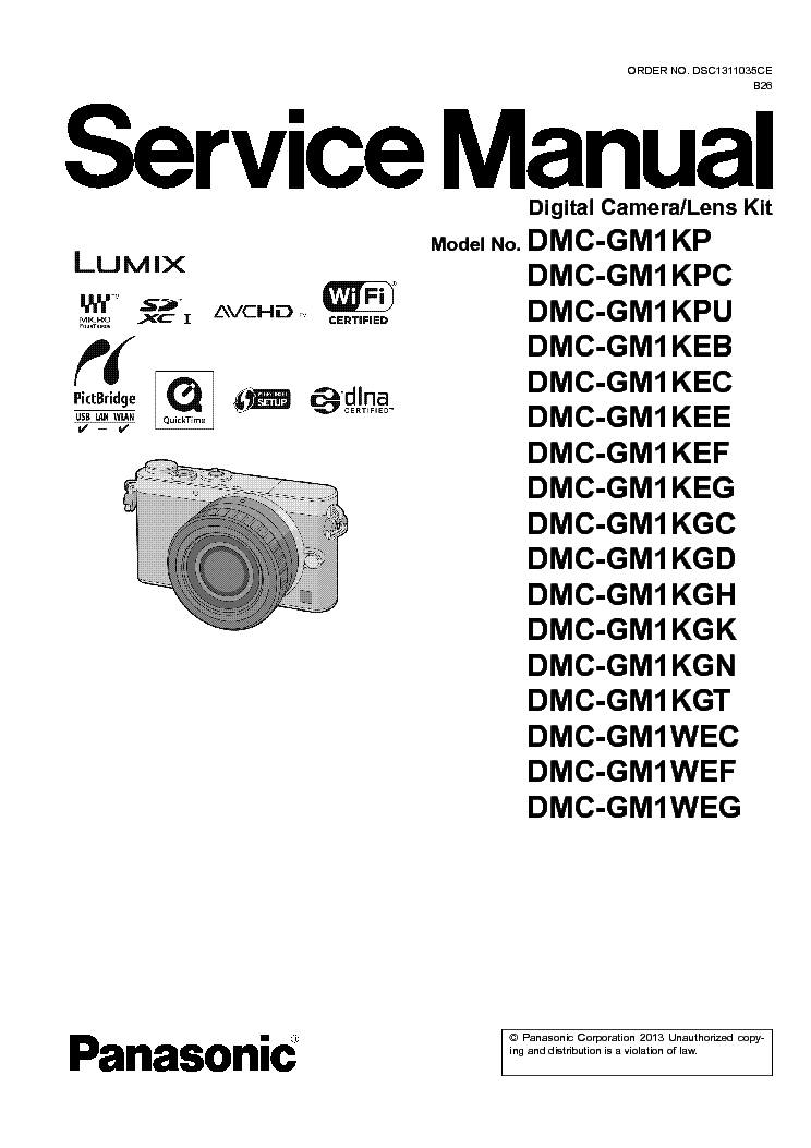 PANASONIC DMC-GM1K DMC-GM1W DIGITAL CAMERA Service Manual