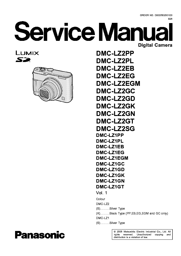 PANASONIC DMC-LZ2-XX LZ1-XX SM Service Manual download