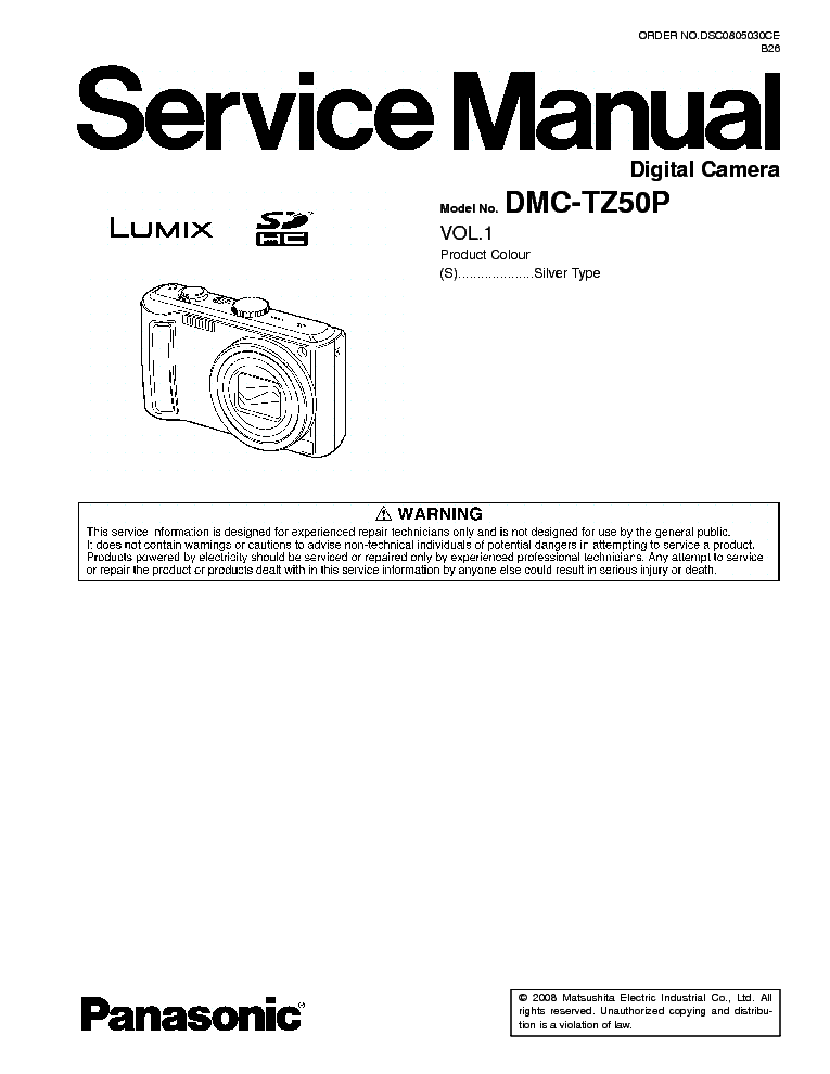 PANASONIC DMC-TZ50 Service Manual download, schematics