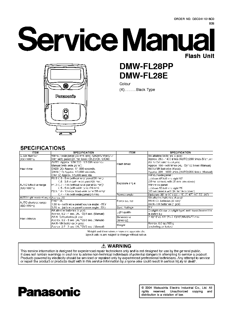 PANASONIC DMC-GF3 SERIES Service Manual download