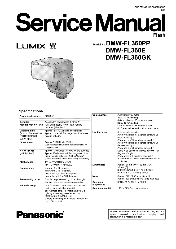 PANASONIC DMC-TZ7 ZS3 SM Service Manual download