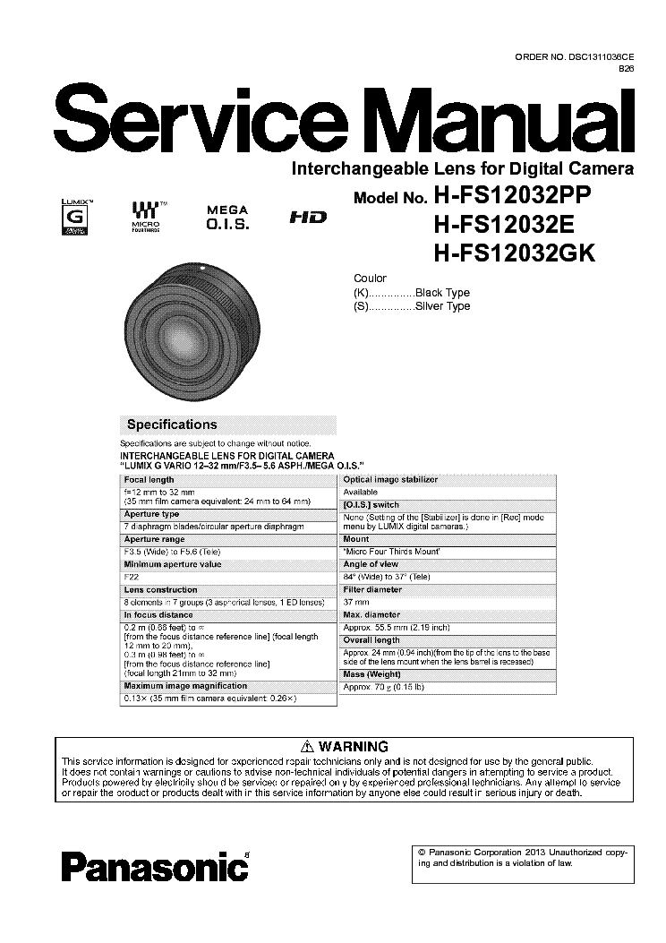 PANASONIC H-FS12032 SERIES LENS FOR DIGITAL CAMERA Service