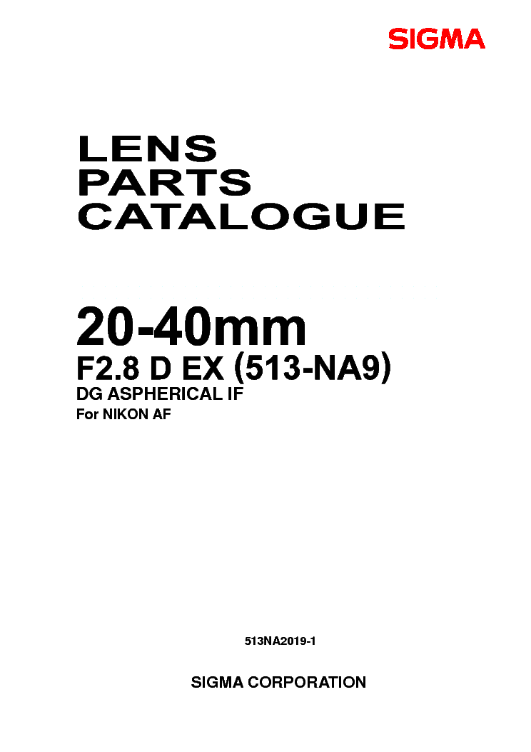SIGMA 20-40 F2.8 EX DG FOR-NIKON LENS PARTS Service Manual