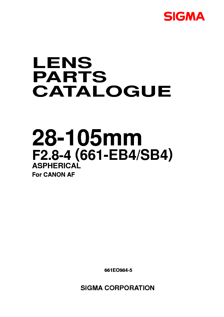 SIGMA 28-105 2.8-4 PLUG FOR-CANON LENS PARTS Service