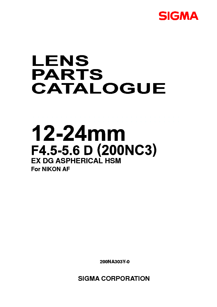 SIGMA DG 12-24 F4.5-5.6 FOR-NIKON LENS PARTS.PDF Service