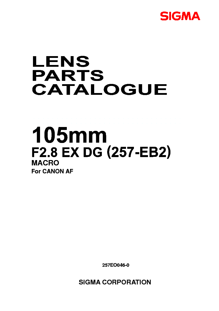 SIGMA 28-105 2.8-4 SOLDER FOR-CANON LENS PARTS Service
