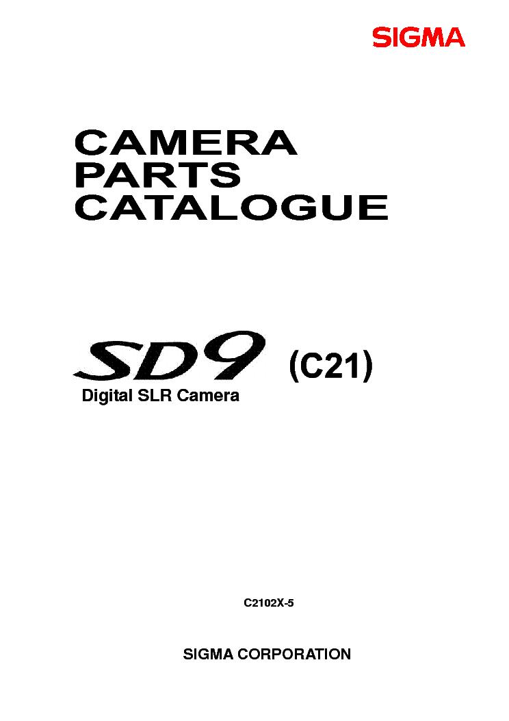SIGMA DIGITAL SLR CAMERA SD9 PARTS Service Manual download