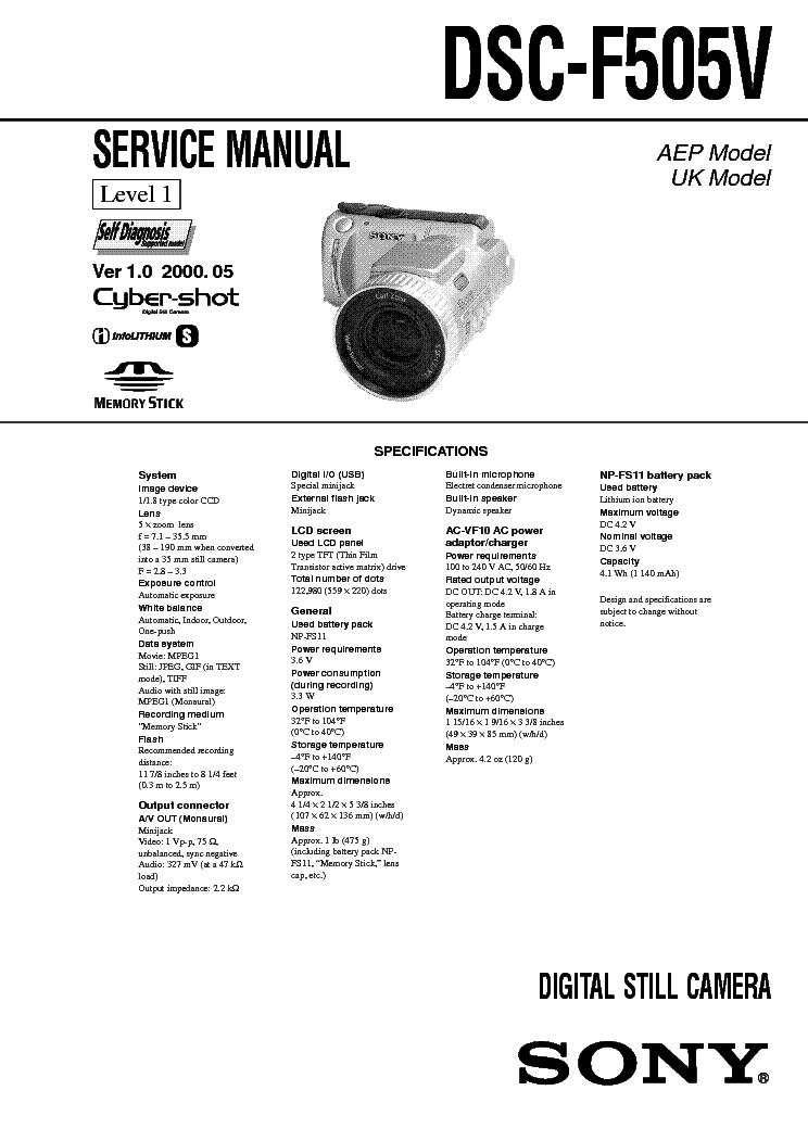 SONY CYBERSHOT DSC F505V LEVEL 1 VER 1.0 SM Service Manual
