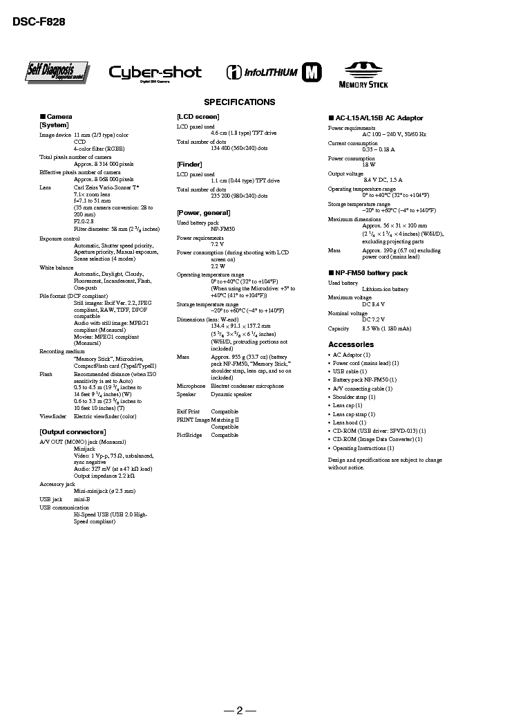 SONY DSC-F828 L2 V1.4 Service Manual download, schematics