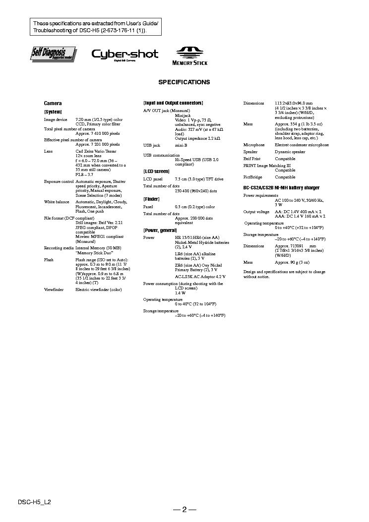 SONY DSC-H5-L2 Service Manual download, schematics, eeprom
