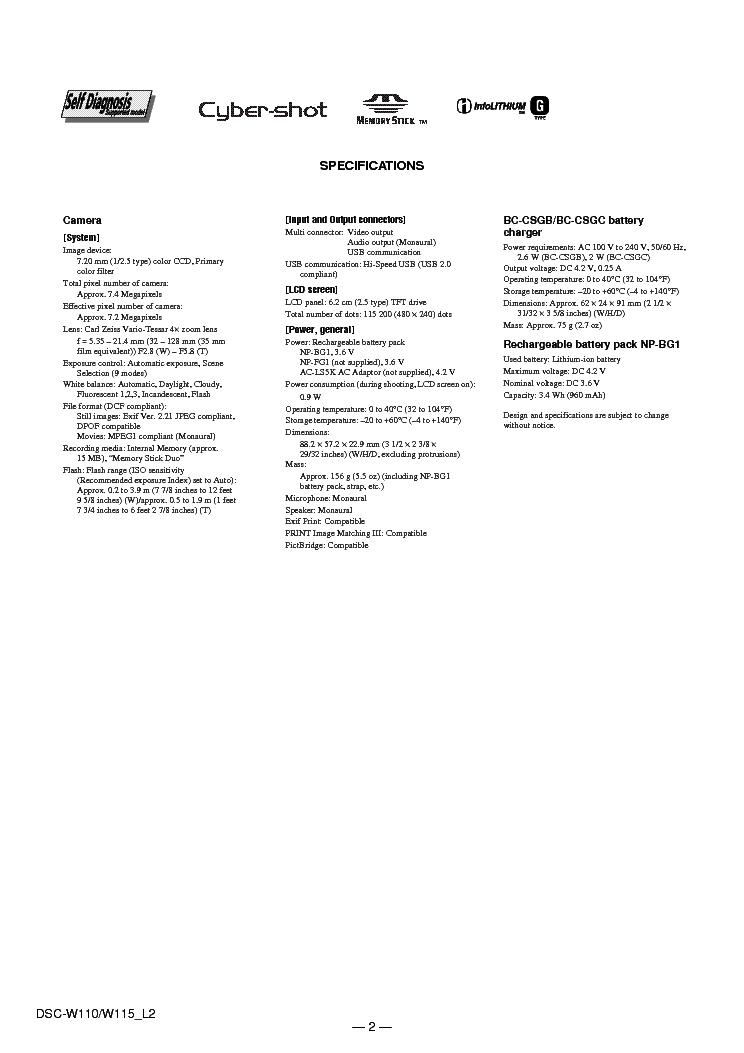 SONY DSC-W110 W115 Service Manual download, schematics