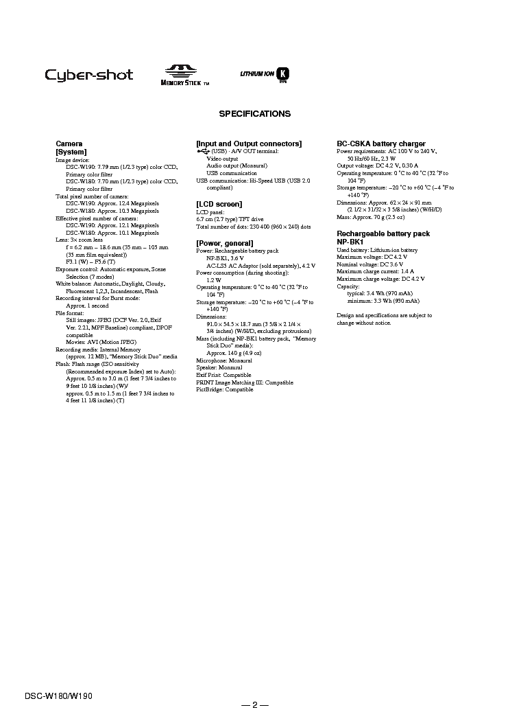 SONY DSC-W180 W190 BASIC VER1.2 SM Service Manual download